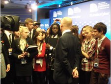 William Hague, the Foreign Secretary, talks to Youth Forum delegates